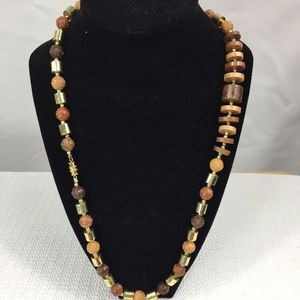 Jewelry - WOOD LIKE ROSES AND DISK WITH GOLD BEADS NECKLACE